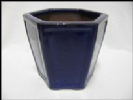 Bonsai Pot, Hexagonal, 13cm, Blue, Glazed